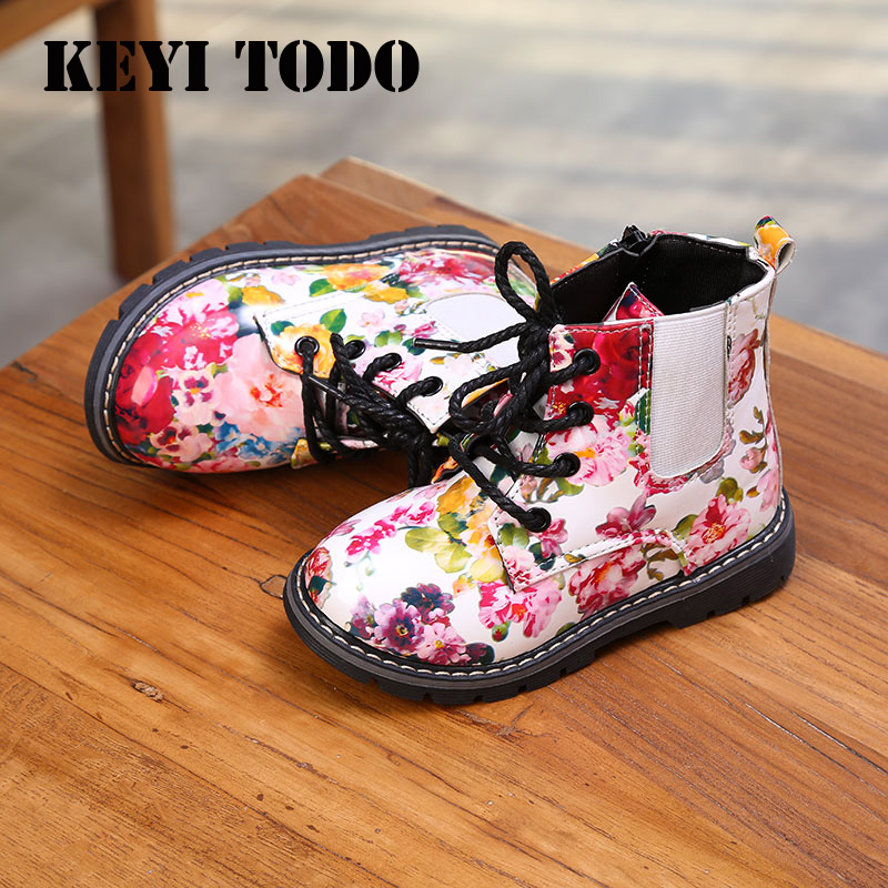 New Autumn/Winter Girl Martin Boots Printed Shredded Flower Boots Girls Casual Shoes Children Lacquer Leather Child Boots B157
