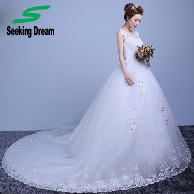 8ca99824f New Soft Fios vestido de Baile Vestido de Ombros Rendas Strass Vestido de  Noiva Capela Trem