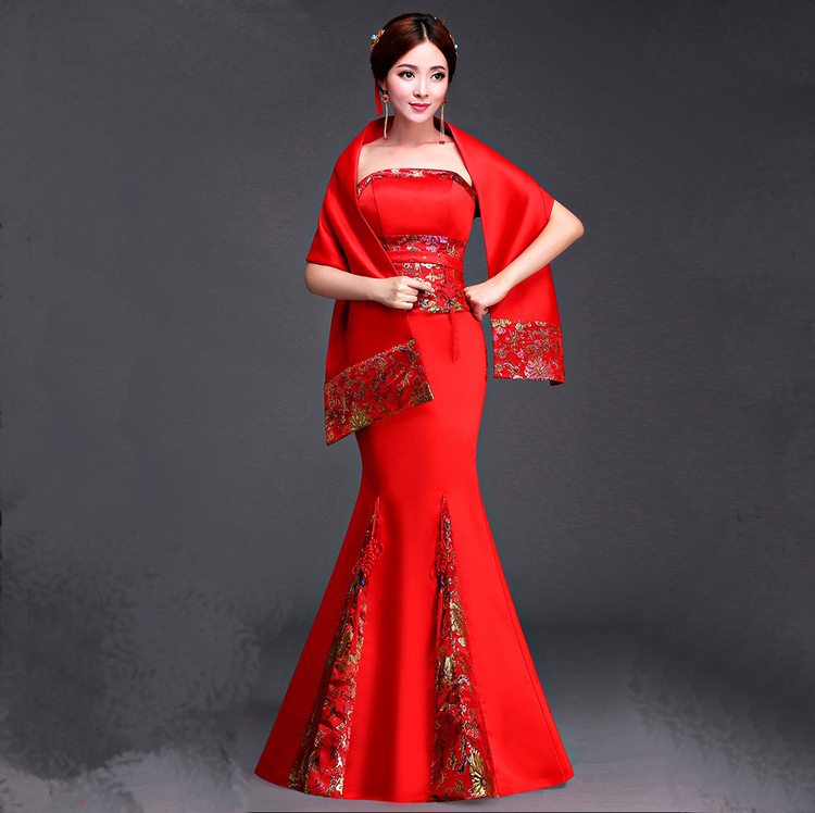 Women Tailing Chinese Traditional Dress Red Female Wedding Dress Elegant Laday Cheongsam for Evening Dress Tippet