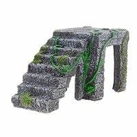 Saim Nuevo Acuario Resina Plataforma Peregrino Tortuga Peces Tanque de Animales Acuáticos Agua Rock Escalera Peregrino Acuario Decoración E4WOLLSZ09705