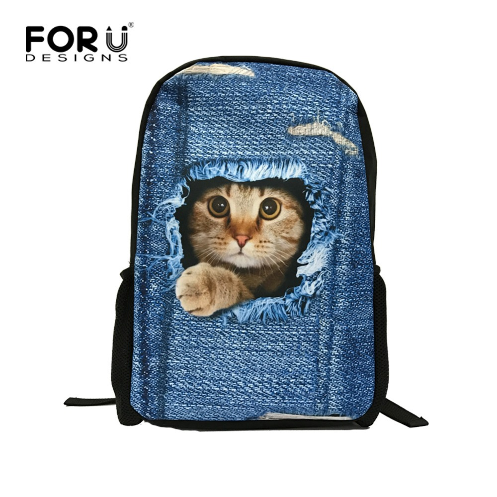 FORUDESIGNS Fashion Children Backpacks Cute Animal Cat Dog Printing Student Girls School Backpack Kids Bagpack Mochila Escolar instantarts cute children pug dog backpack men felt travel backpacks for teenege boys 3d animal printed student school bagpack