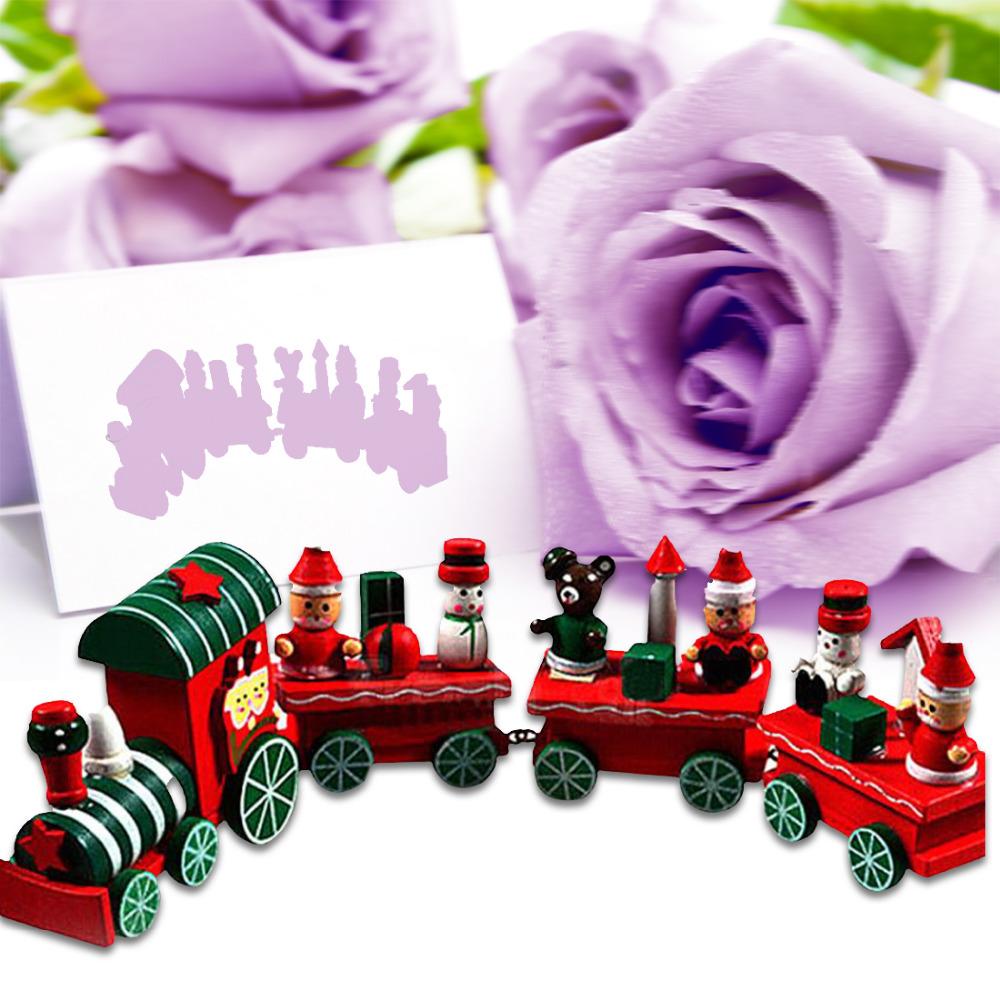 gran venta unid decoracin de navidad pequeo tren tren de madera adornos navideos decoracin