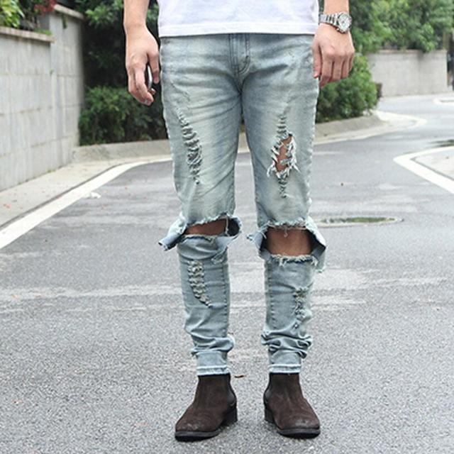 Newest mens distressed jeans ripped skinny blue black jeans homme mens hip  hop skinny distressed denim - Aliexpress.com : Buy Newest Mens Distressed Jeans Ripped Skinny