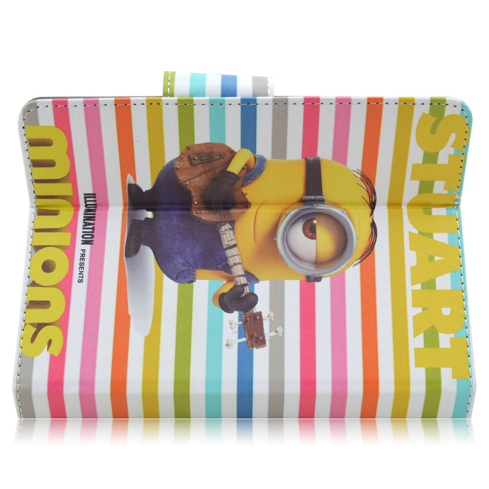 Cute Kids Cartoon Minions PU Leather Folio Flip Cover Case for LG G Pad 10.1 RCA IRULU Dragon Touch 10