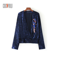 Women Sexy V Neck Velvet Shirts Rivet Beading Sequined Long Sleeve Loose Blouse European Style Ladies