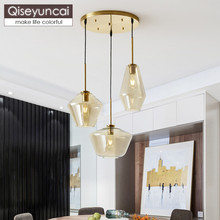 Qiseyuncai Nordic simple restaurant three head glass chandelier modern creative bar hotel lighting free shipping