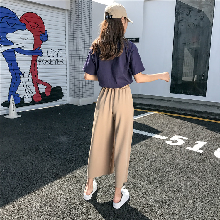 19 Women Casual Loose Wide Leg Pant Womens Elegant Fashion Preppy Style Trousers Female Pure Color Females New Palazzo Pants 12