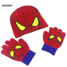 2018 Winter Girls Boys Hat Cartoon Spider Man Warm Cap Knitted Hat Gloves Children Hat Keep Warm Cold-proof Baby Set Head Cap winter baby ears knitted hat infant toddler keep warm cap for children art deco cap