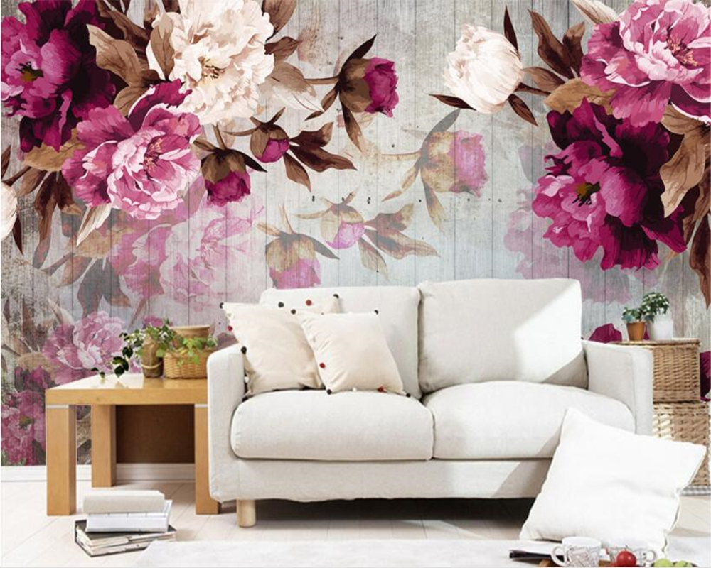 beibehang Custom Photo Wallpaper Wall Sticker Handmade Peony Flower Wood grain Background wallpaper papel de parede papier peint in Wallpapers from Home Improvement