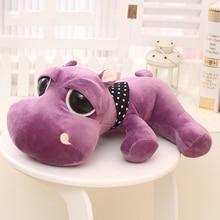 Purple Hippo Plush Toys Kawaii Hippo Stuffed Toys for Kids Soft Peluches Animales Big Eyes Hippo Kids Doll Baby Sleeping Pillow