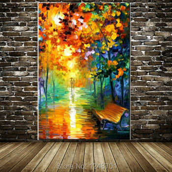Hand Painted Modern Abstract lovers walked on the street lamp landscape oil painting wall pictures living room home wall decor