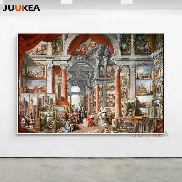 Picture Gallery With Views Of Modern Rome By Giovanni Paolo Panini Canvas Print Painting Glciee Wall
