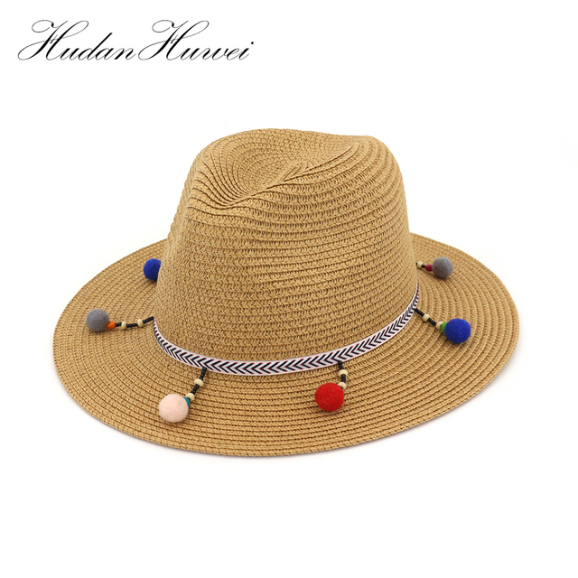 e8049ff3aaa 2018 colourful pompoms Straw Hat Big Brim Ladies Summer Youth Hats For Women  Shade Sun Hat Beach Caps Leisure CMDJS030