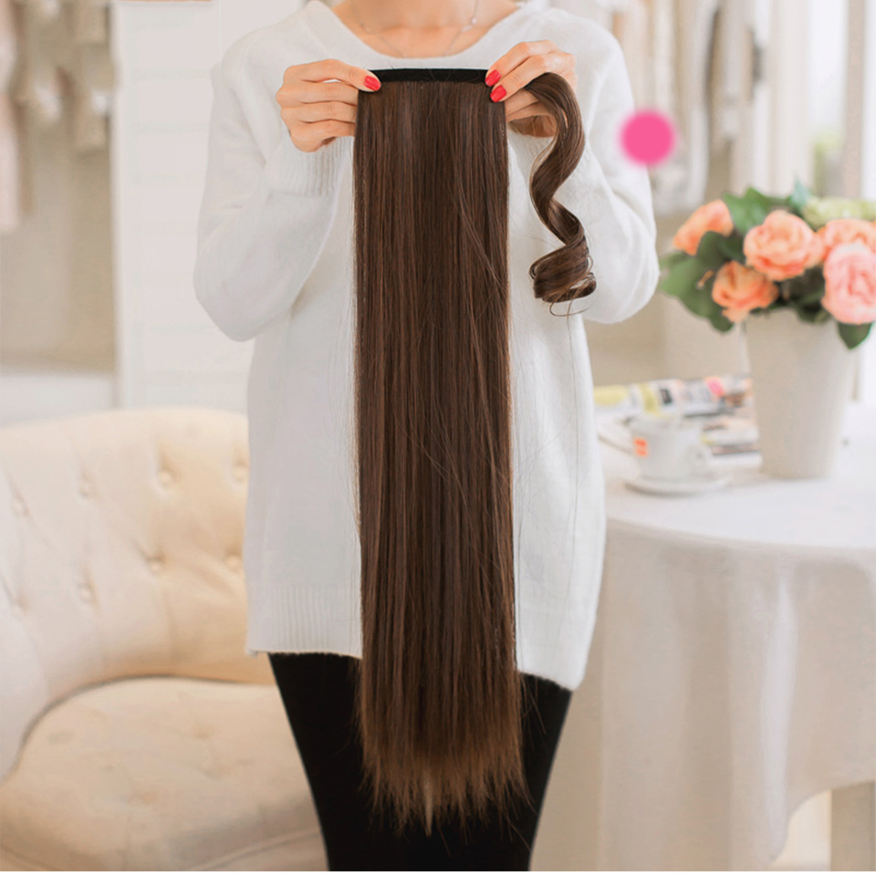 AOSIWIG 24 inch Womens Long Straight Clip In Synthetic Hair Ponytails Magic Tape Wrap On 100g/pc
