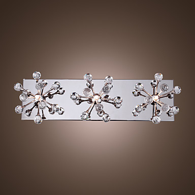 Wall mirror Light, K9 Crystal Flush Mount with 3 lights in Square,For bathroom bedroom,Bulb Included