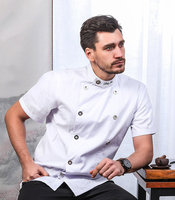2019 High Quality White Top Chef Restaurant Kitchen Long Sleeve Work Jacket Men Cooking Wear Double Breasted Uniform Clothing