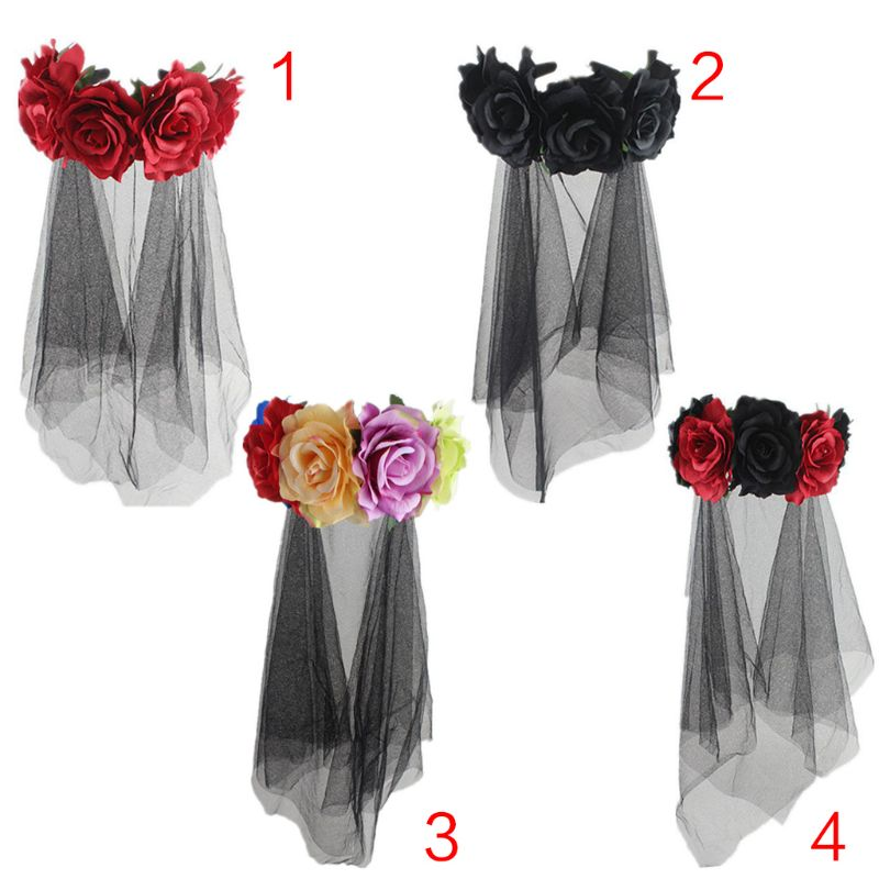 Womens Halloween Costume Bridal Headwear  Rose Flowers Crown Tulle Veil Garland Party Wedding Festival Photo Props Wreath