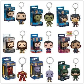 Funko pop Super hero Thor hulk Thanos Loki Superman Arrow  KeyChain Accessories figures model toy gifts Collection ingco