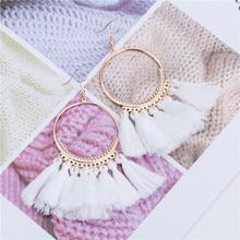 Hechos a mano nuevos borla pendientes para las mujeres étnicas gran gota pendiente moda Bohemia joyería de moda con flecos, larga pendientes de verano