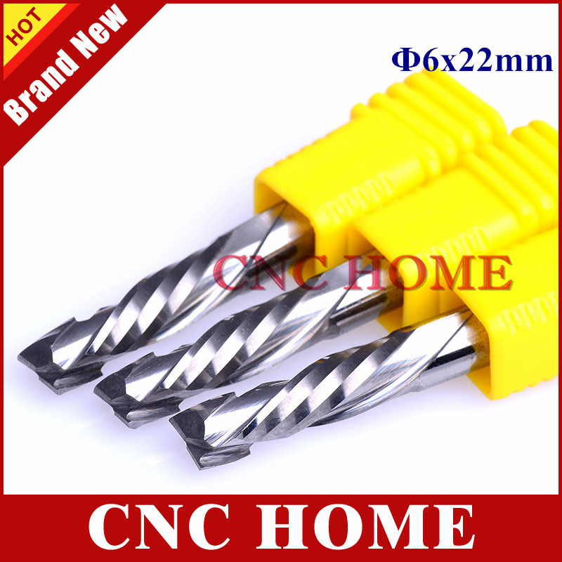 6x22MM Up Down Cut 2 Spiral Flute Carbide CNC Mill Milling Tools CNC Milling Cutter Woodworking
