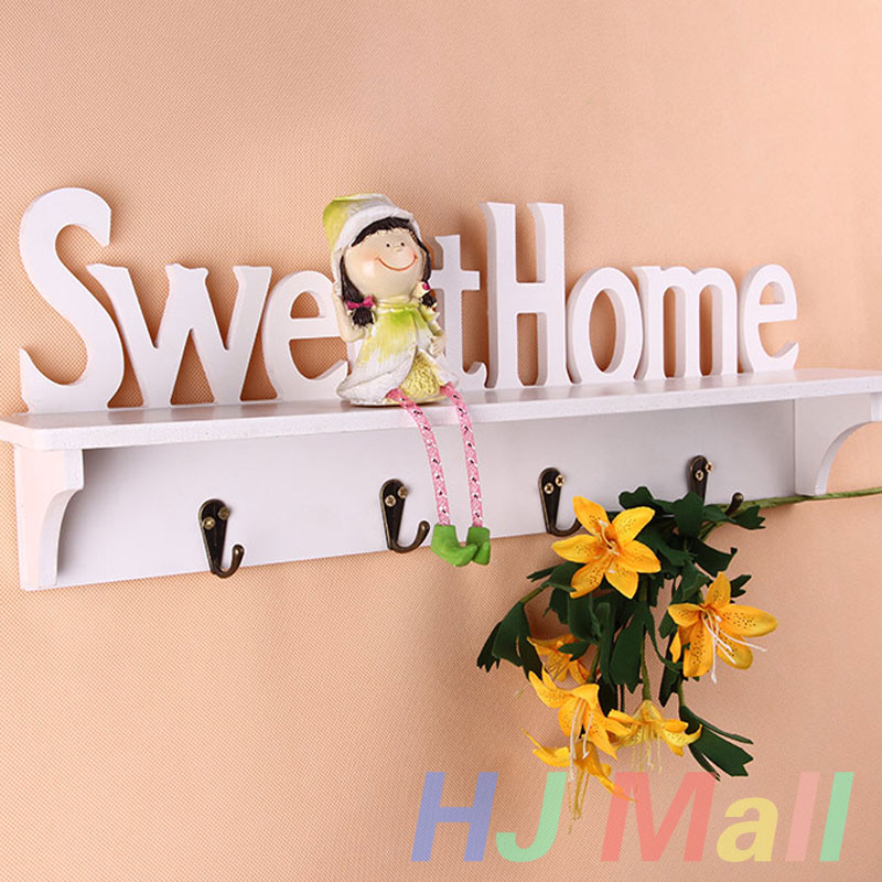 Sweet Home Style Wall Mounted Organizer Rack for Key Clothes Coat Bag Wall Hanger Decor with 4 Hooks