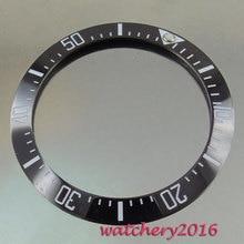 39.9mm luminous markers black ceramic bezel minute markers insert watch fit automatic movement Mens watch bezel