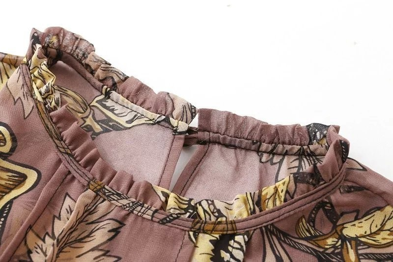 women dress Autumn winter long sleeve ruffle chiffon dress Vintage loose short dress Boho floral print tassel vestidos 18