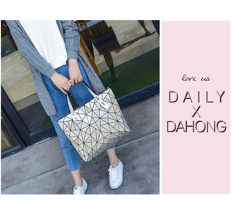 WSYUTUO Handbag Female Folded Ladies Geometric Plaid Bag Fashion Casual Tote Women Handbag Shoulder Bag 6