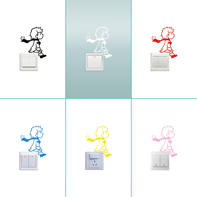 Cute Little Prince Switch Sticker Cartoon Vinyl Wall Stickers for Kids Room Home Decor on the wall