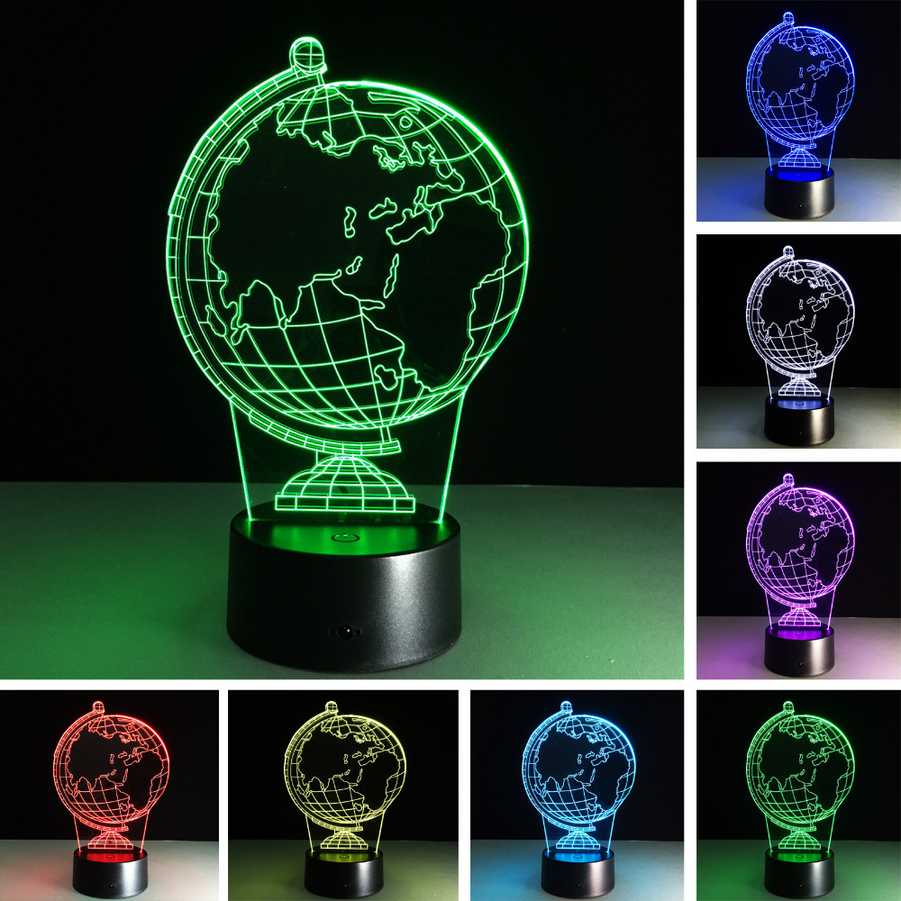 Creativo 3d Globo Terr Queo Ilusi N Visual Led Luz Colorida Noche  ~ Globos Terraqueos En El Corte Ingles