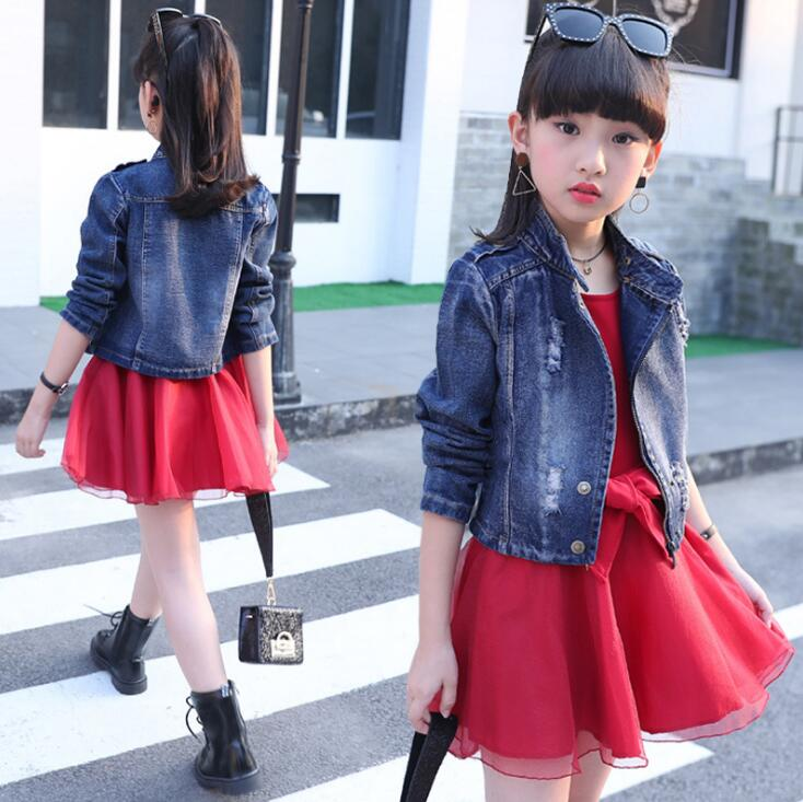 2 Pieces Girls Clothing set Autumn Spring Outfits Children's Jeans Jacket Coats + Dress ensemble fille For 6 8 10 12 14 Years