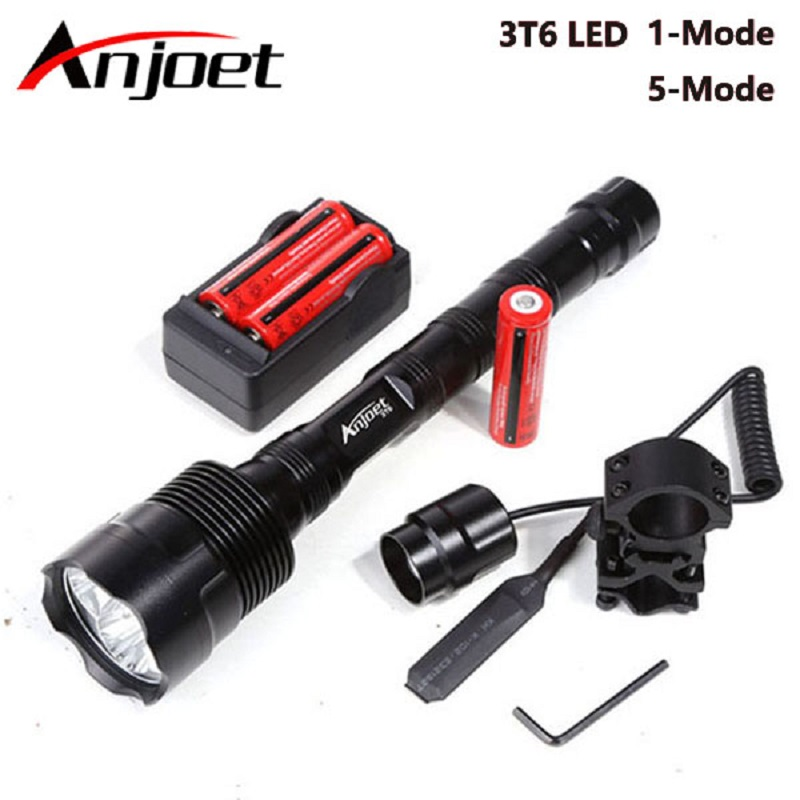 Anjoet 6000Lm Hunting Powerful 3xT6 LED Tactical Flashlight 18650 Lantern Torch Llight+Battery+Charger+Remote Switch+Gun Mount