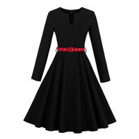 Sisjuly Women Autumn Dress Girls Long Sleeve Sashes O Neck Knee Length Solid Black Casual Dresses