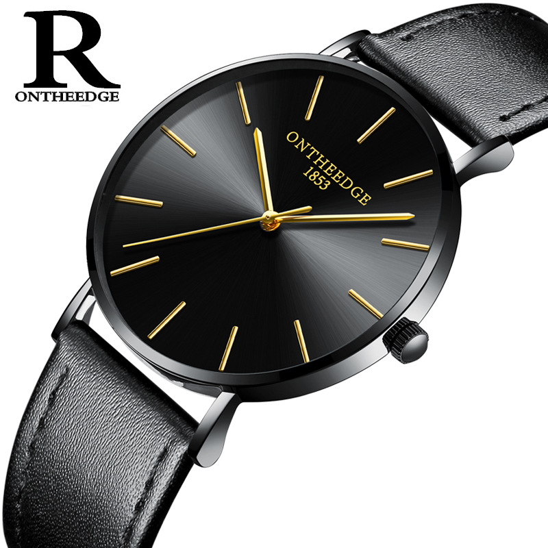 Business Men Women Quartz Watches Genuine Leather Wristwatches Luxury Man Woman 6mm Thin Waterproof Watch Ontheedge Brand Clocks