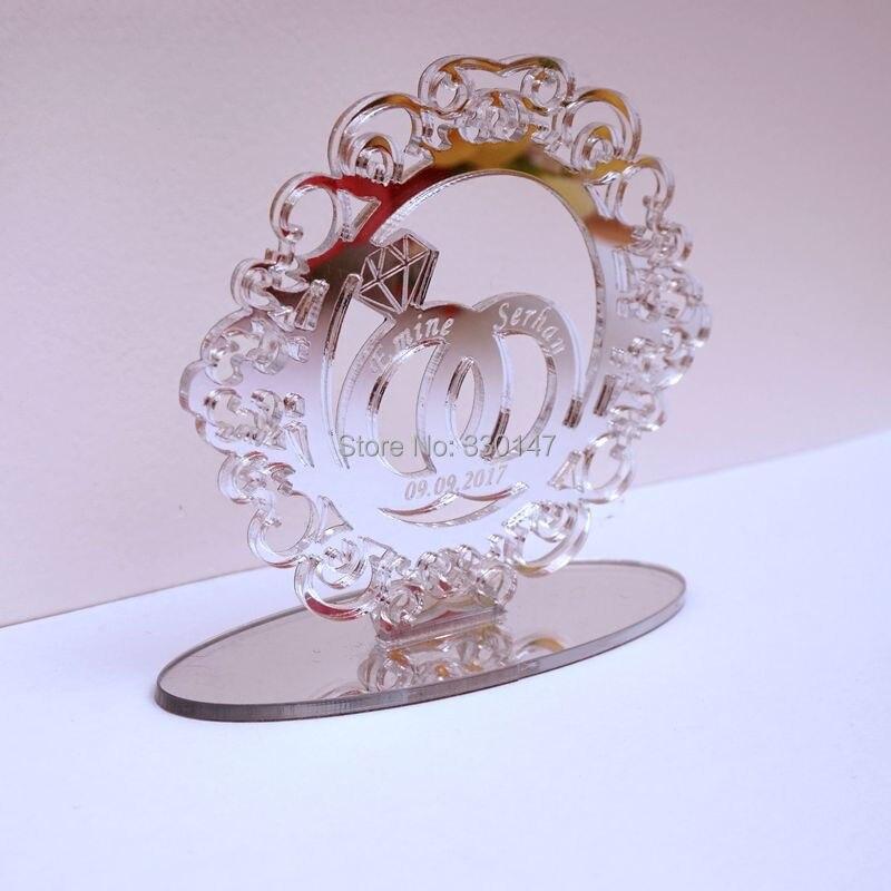 Personnalisé mariage cuillères à soupe anneaux creux cercle pour Table debout personnalisé acrylique nom miroir fête décor mariée faveurs cadeaux