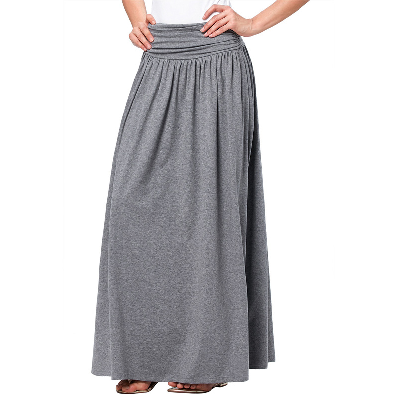 544e964b3 Fashion Long Skirts Womens 2016 Latest Autumn Cotton Pleated Skirt Ladies  Elegant A line Maxi Skirt Gray Black Mujer Falda-in Skirts from Women's  Clothing ...