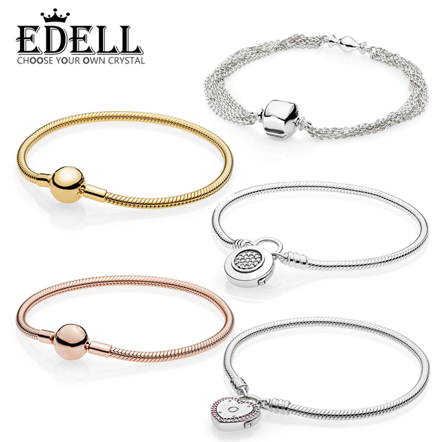 39308362a EDELL 100% 925 Sterling Silver Genuine SHINE MOMENTS SMOOTH BRACELET ROSE  SIGNATURE PADLOCK Temperament Fashion Women Jewelry