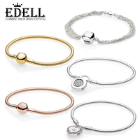 EDELL 100% 925 Sterling Silver Genuine SHINE MOMENTS SMOOTH BRACELET ROSE SIGNATURE PADLOCK Temperament Fashion Women Jewelry