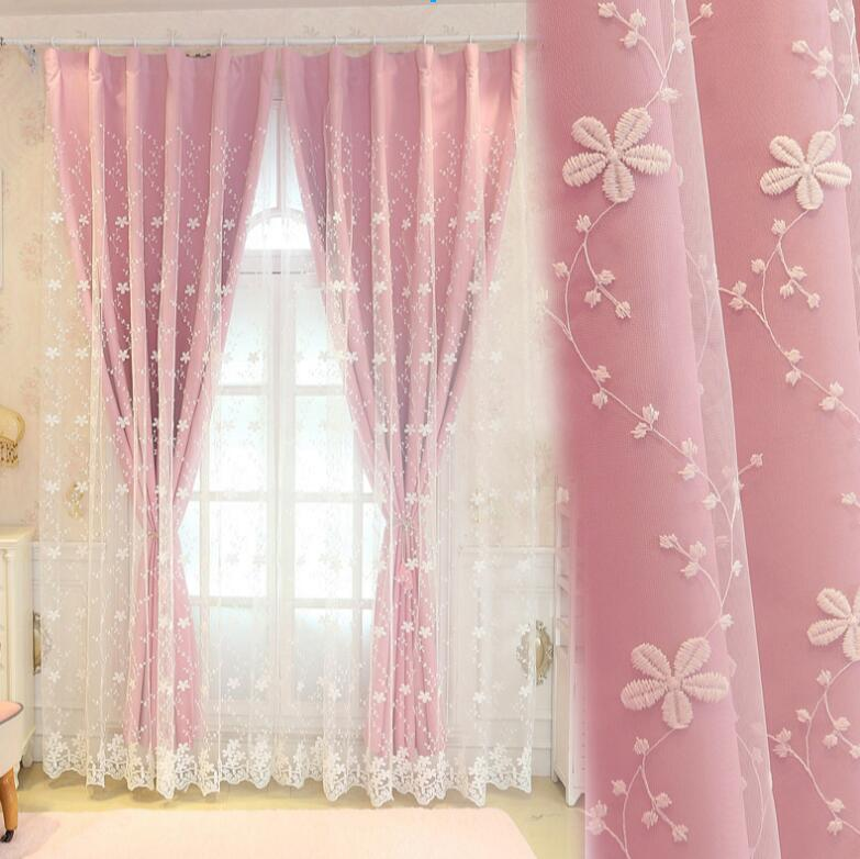 Double Layer Tulle with Blinds Lining Window Curtains with Tassel Lace For Bed room Light Shading