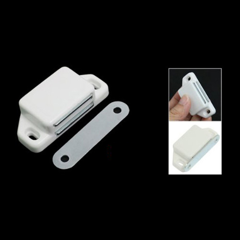 Wholesale price New 2 Pcs Practical Plastic Cabinet Cupboard Door Magnetic White Latch Catch push to open beetles drawer cabinet latch catch touch release kitchen cupboard new arrival high quality