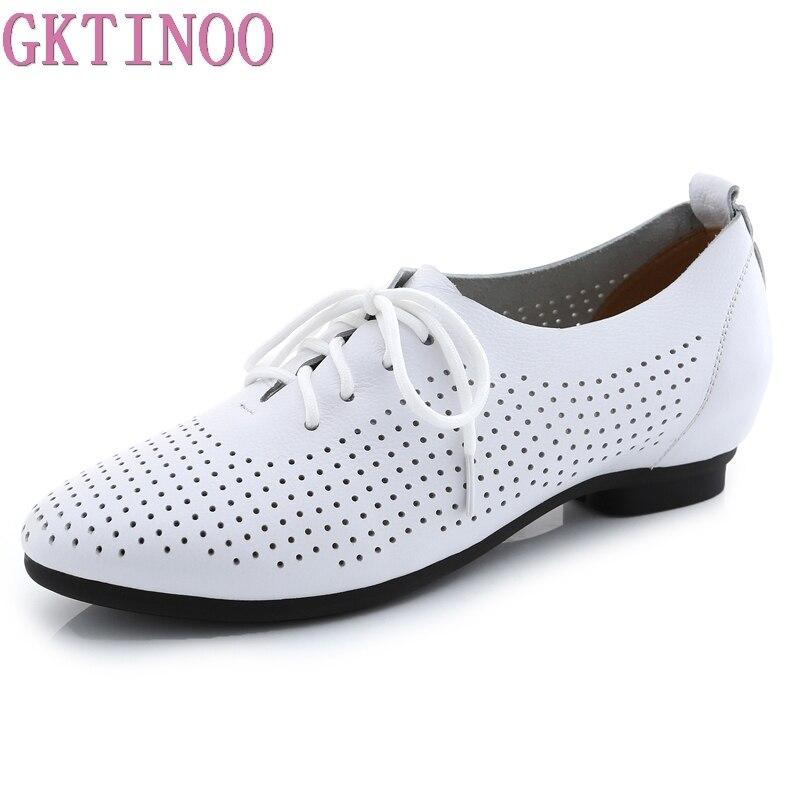 GKTINOO Plus Size 2018 Summer Cut Out Women Genuine Leather Shoes Woman Flat Flexible Round Toe Nurse Casual Fashion Loafers shoulder cut plus size flower blouse