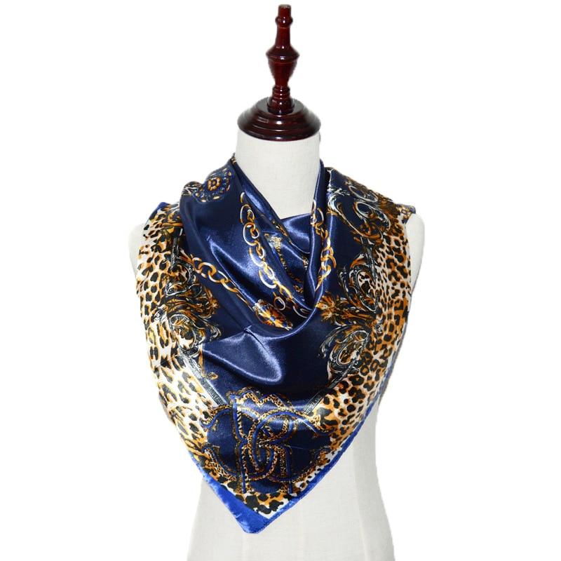 Women scarf Fashion Autumn Summer bandana sarong Square faux Silk Scarves Soft Muslim HIjab Headband Cheap Shawl 90X90 CM Woman