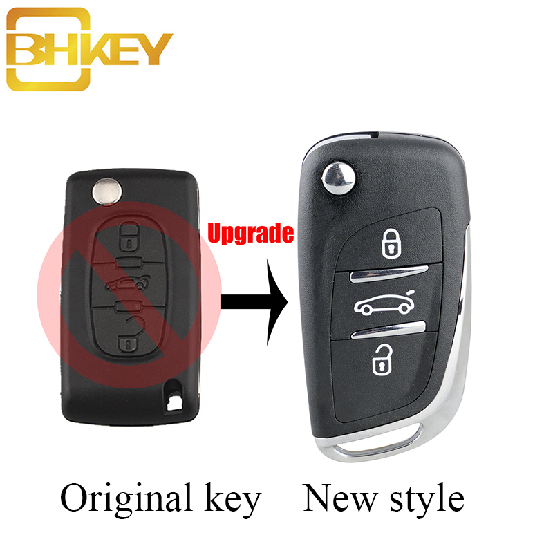 BHKEY 3Buttons Trunk Modified Remote Key Case For Peugeot 306 407 408 607 For Citroen C4 C2 Car Key CE0536 VA2 Or HU83 Blade