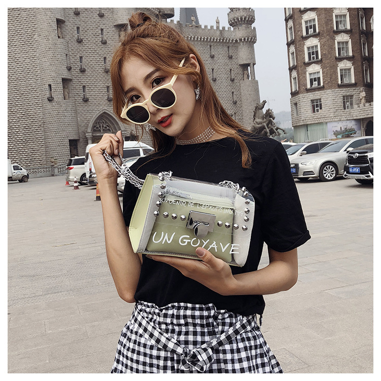 18 Summer Fashion New Handbag High quality PVC Transparent Women bag Sweet Printed Letter Square Phone bag Chain Shoulder bag 14
