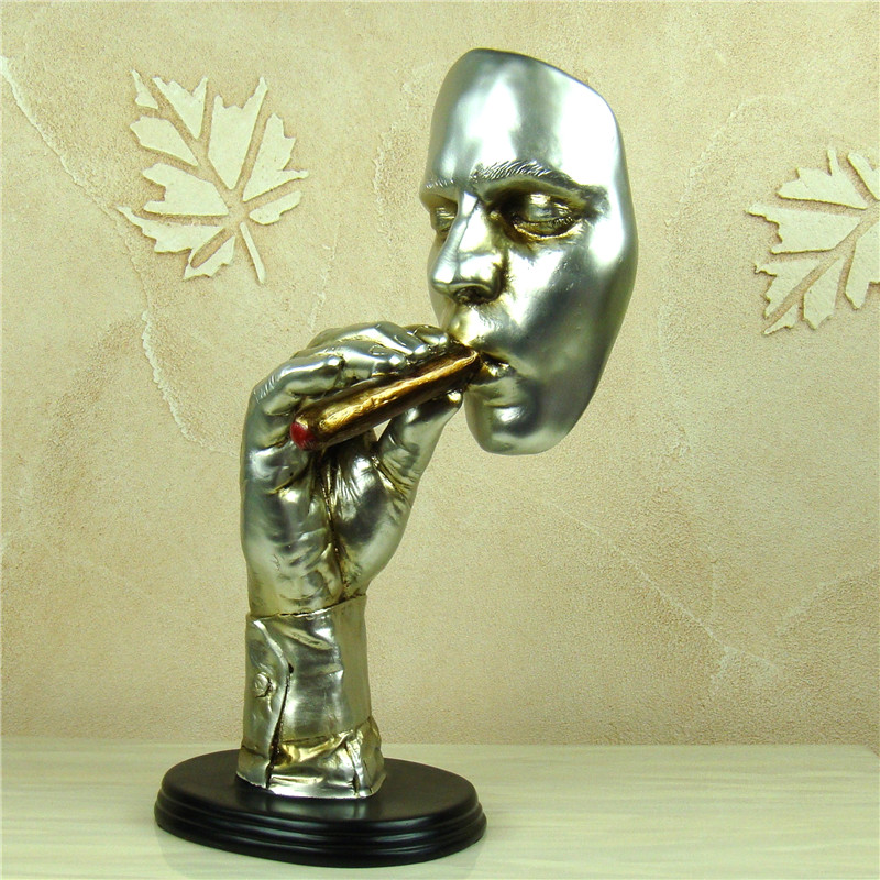 Abstract Cigar Smoking Man Portrait Sculpture Resin Figure Bust Decor Handicraft Ornament for Business Gift and Art CollectibleAbstract Cigar Smoking Man Portrait Sculpture Resin Figure Bust Decor Handicraft Ornament for Business Gift and Art Collectible