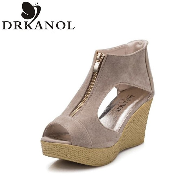 2016 лето женщины туфли на высоком каблуке пип-ноги клинья мода женщин туфли на платформе zapatos mujer бесплатная доставка