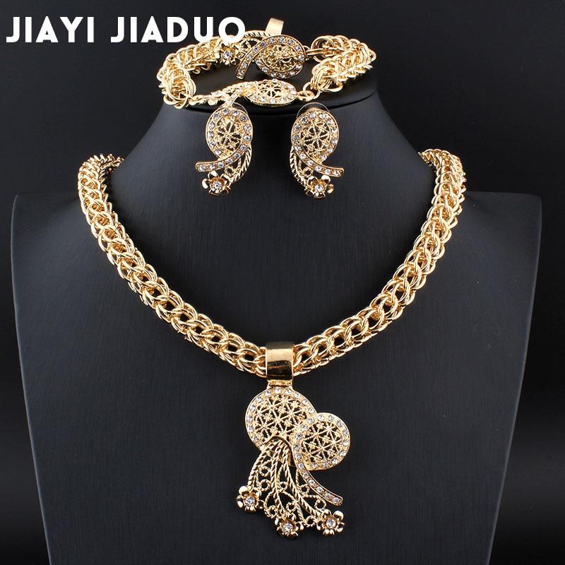 Jiayijiaduo Nigerian Jewelry Set African Jewelry Parure Bijoux Femme African Wedding Beads Necklace Gold Color