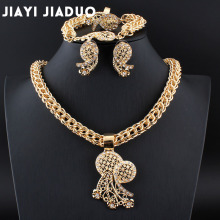 jiayijiaduo Nigerian jewelry set for women African jewelry  Parure bijoux femme African wedding beads style necklace Gold color