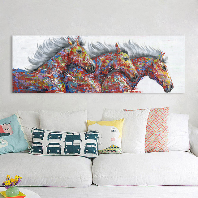 HDARTISAN Wall Art Canvas Painting Animal Picture Poster Prints Thress Running Horses Painting Home Decor No Frame