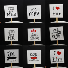 10pcs DIY Propose Show Love Mr Mrs Cake Ice-cream Cupcake Toppers Picks Valentine's Day Engagement Wedding Party Dessert Decor(China)